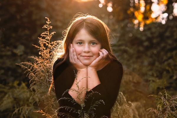 Gorgeous Child Outdoor portraits, golden hour sunset, Clinton Nature Preserve Douglasville GA