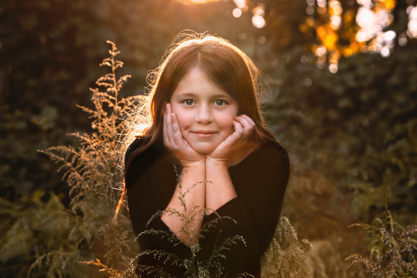 Gorgeous Child Outdoor portraits, golden hour sunset, Clinton Nature Preserve Douglasville GA