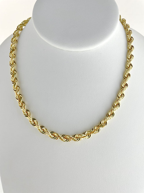 "14K Solid Rope Chain 65.25g ""24"" 6mm"