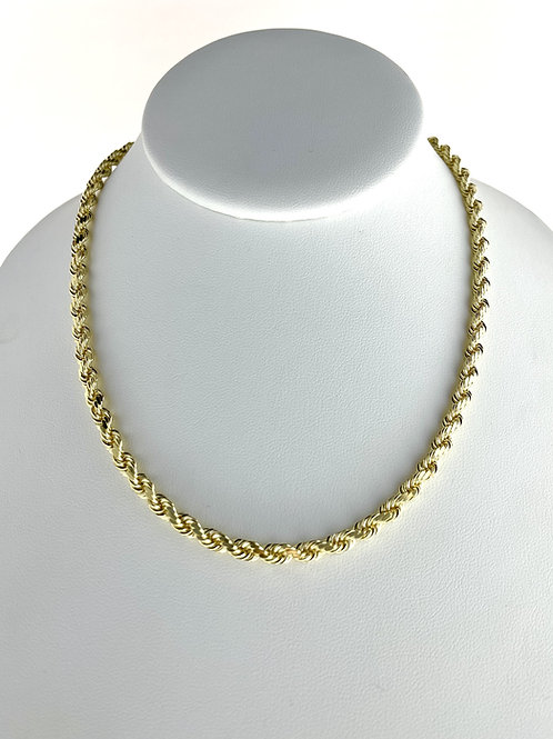 "14K Solid Rope Chain 44.2g ""24"" 5mm"
