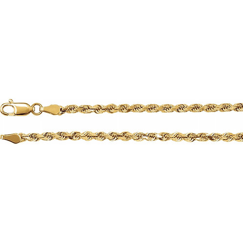"""14K Solid Rope 39.61g 4mm """"22"""