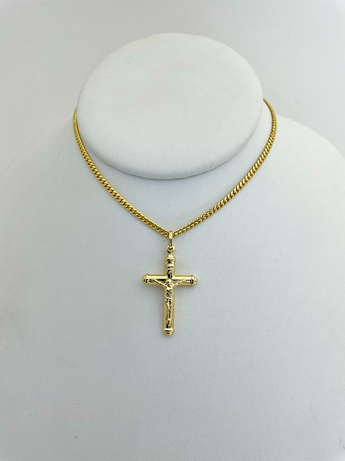 "14K Solid Miami cuban and Cross 12.30g ""18'"