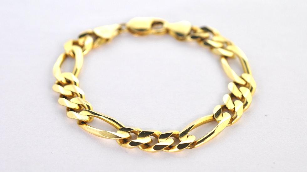 "14K Solid Figaro Bracelet 36.2g ""8"