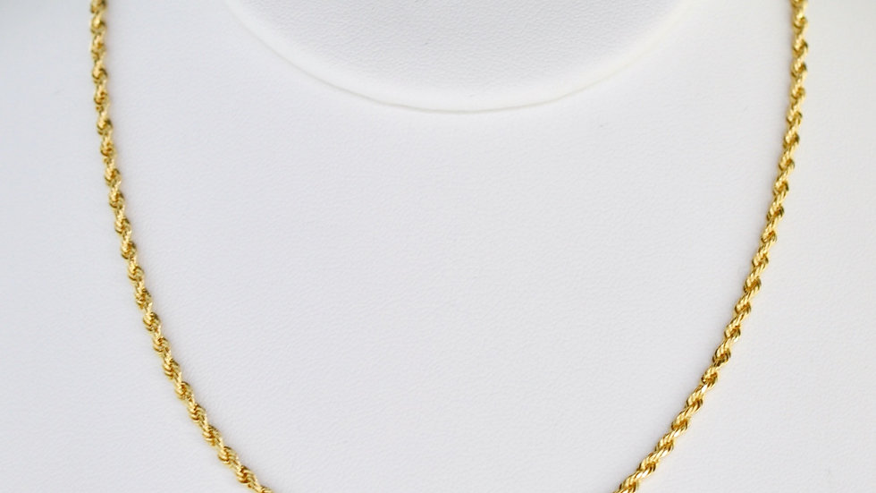 14K Solid Rope Chain 11.23g 22 Inches