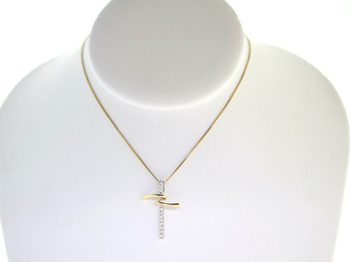 14K Solid Rope chain with Diamond pendant 3.2g