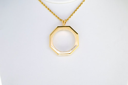 14K Solid pendant frame 7.3g (coin or picture)