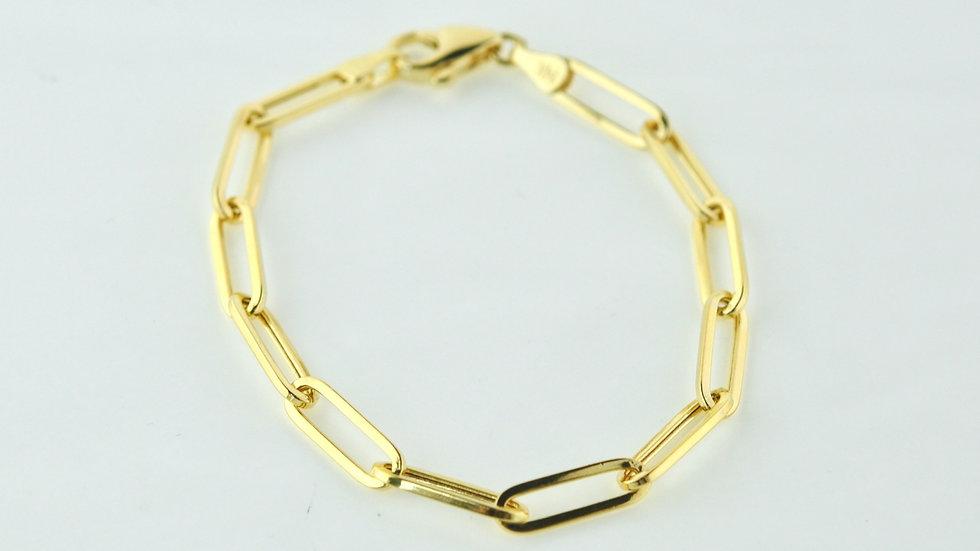 14K Solid Paper Clip Bracelet  5mm, 4.2g