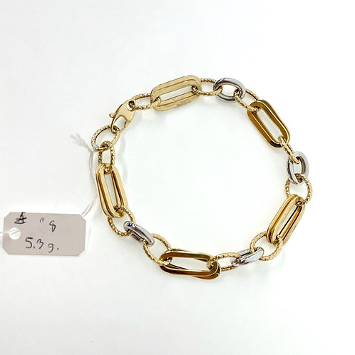 """14K two tone Oval and paper Link 5.3g """"8"""""""