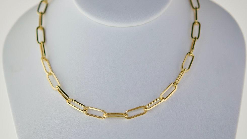 14K Solid  Paper Clip Link Necklace - 6.7mm 15.6g
