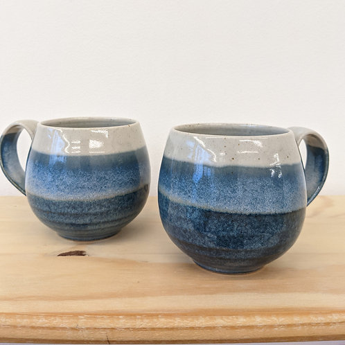Rounded sided mug in blue glaze - Penrhiw pottery