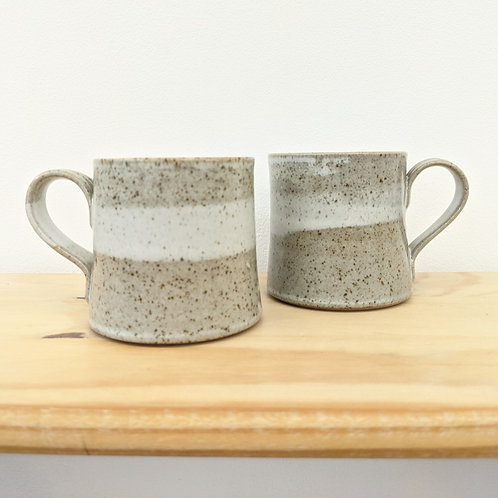Straight sided mug in white speckle glaze - Penrhiw pottery