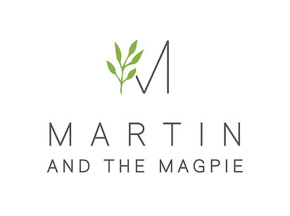 Martin an the Magpie logo. Flower shop, plant shop, gift shop.