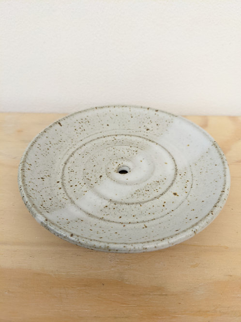 Soap dish in white speckle glaze - Penrhiw pottery