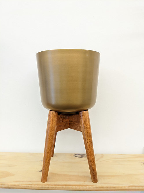 Planter on mango wood stand
