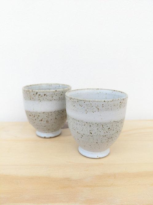 Beaker in white speckle glaze - Penrhiw pottery