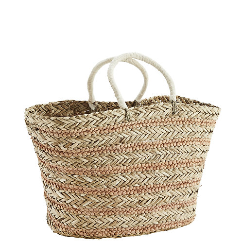 Striped straw shopper