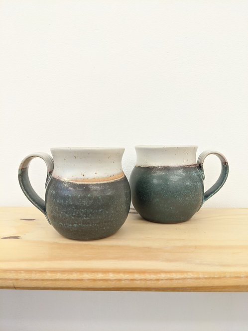 Rounded sided mug in special green glaze - Penrhiw pottery