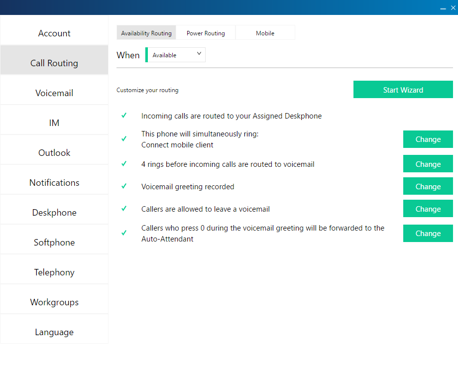 MiVoice Connect Call Routing Wizard