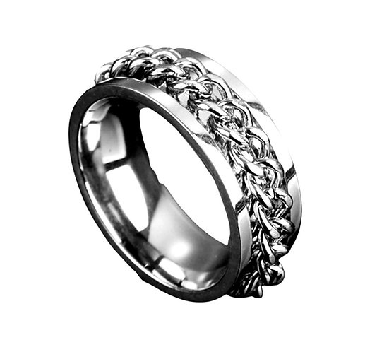 Men's Silver Chain Ring (Various Sizes)