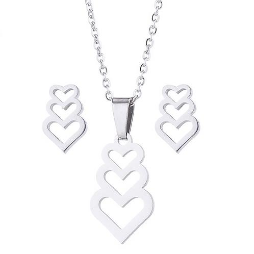 Heart Trio Necklace & Earrings Set