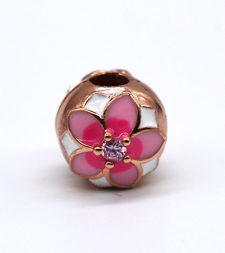 Pink Flower Charm Gold
