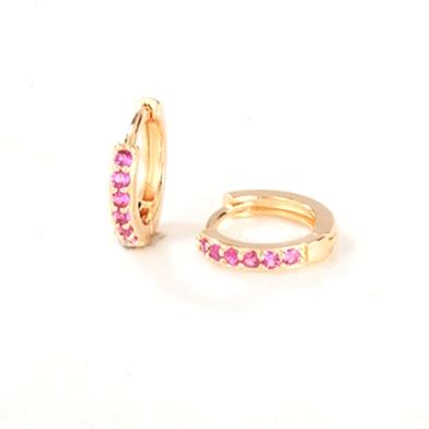 Golden Pink Crystals Sleeper Earrings