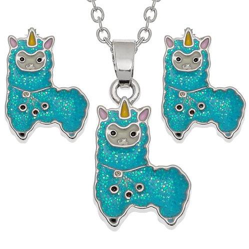 Children's Alpacorn Necklace & Earring Set