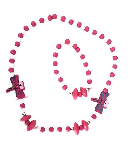 Dark Pink Dragonfly Necklace and Bracelet Set