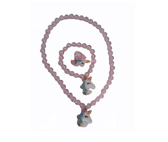 Unicorn beads Necklace, ring and Bracelet Set