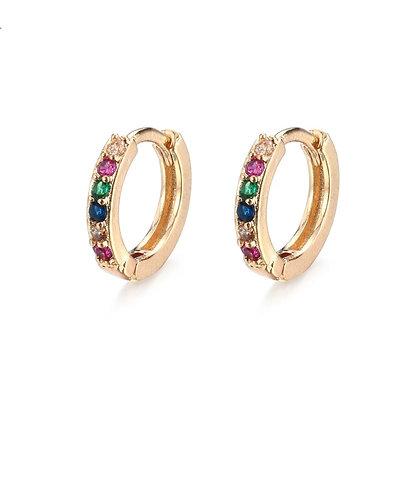Golden Colourful Crystals Sleeper Earrings