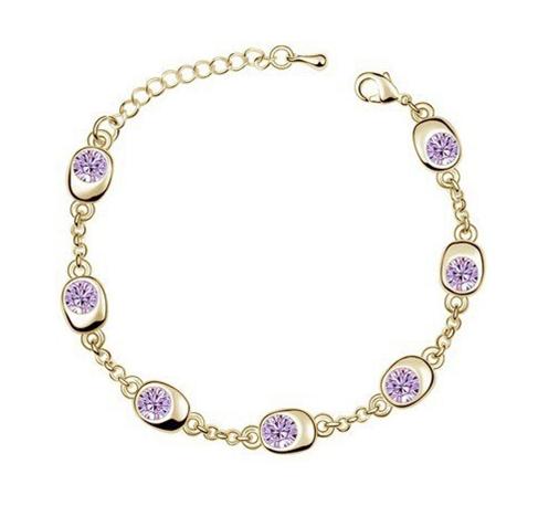 Golden Violet Crystal Bracelet