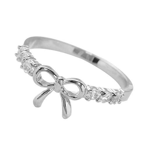 Simple Crystal Bow Ring