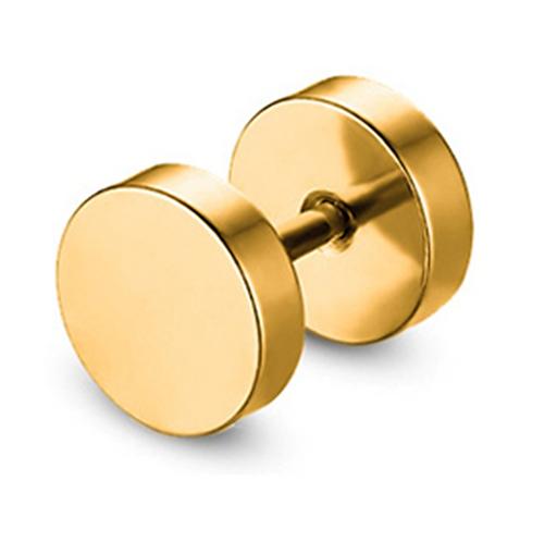Men's Golden Dumbell Ear Stud