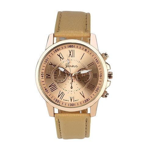 Golden Numerals Ladies Watch (Brown)
