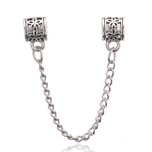 Oval Flower Safety Chain Charm