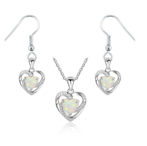 Opal Hearts Necklace & Earring Set