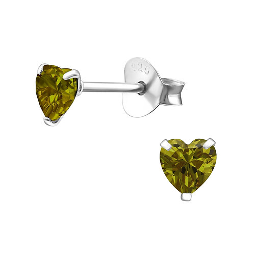 Olive Crystal Heart Earrings