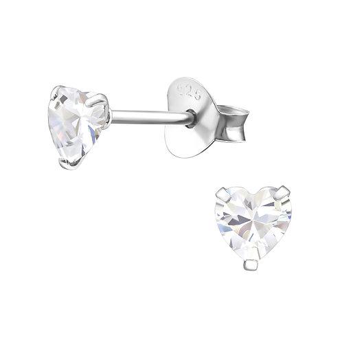 Silver Crystal Heart Earrings