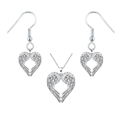 Angel Wings Necklace & Earrings Set