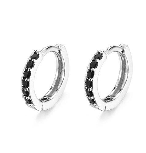 Black Crystals Sleeper Earrings