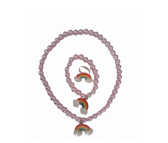 Rainbow beads Necklace, ring and Bracelet Set