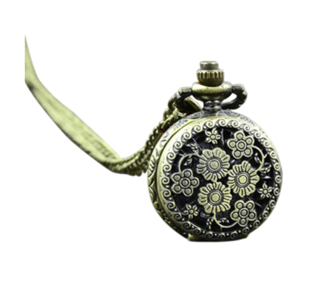 Antique Bronze Vintage Flower Pocket Watch