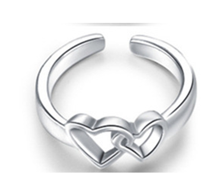 Two Hearts Toe Ring