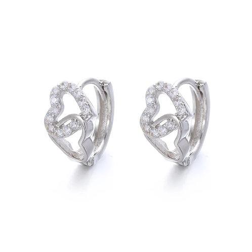 Two Hearts Sleeper Earrings