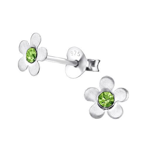 Olive Crystal Flower Earrings
