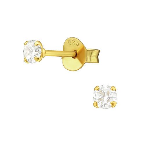 Golden Simple Crystal Earrings