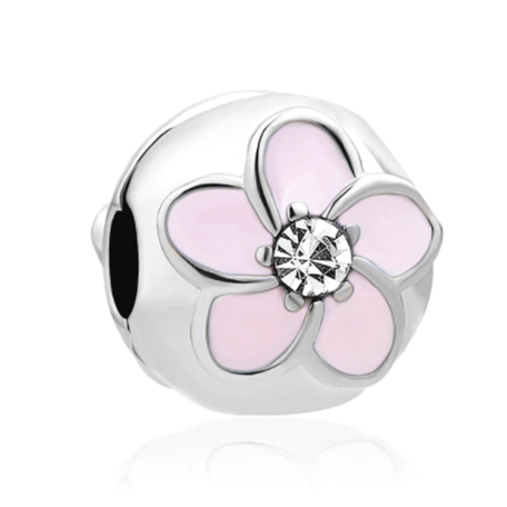Pink Flower Charm Silver