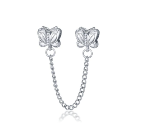 Silver Butterfly Safety Chain Charm