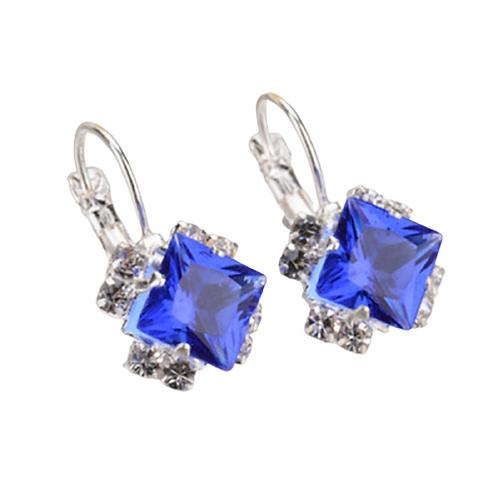 Blue Crystal Square Earrings