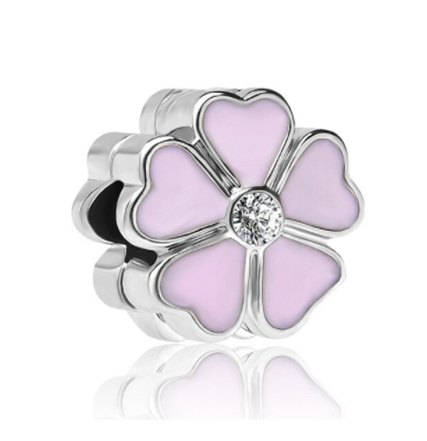 Pink Hearts Flower Charm